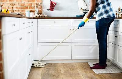 Chores like mopping can help burn calories.