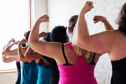 photo credit to Sarah Pflug via Burst. Women in group fitness class.