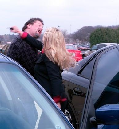 Woman punching man self-defense.