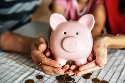 Piggy bank for saving money.
