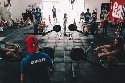 Group fitness studio gym weight training.