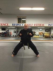 Horseback or Kiba Dachi Stance in karate.