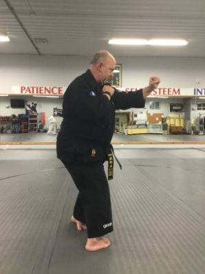 Hourglass or Sanchin Dachi Stance in karate.