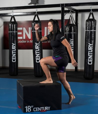 Step ups work the legs and calves. Century Martial Arts Plyo Box, with Muay Thai Heavy Bags in the background.