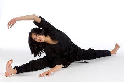 Jessica Mellon. Flexibility is important for martial arts.