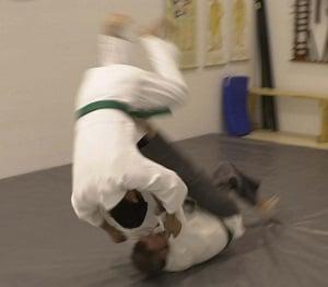A sacrifice throw in Japanese jujutsu.