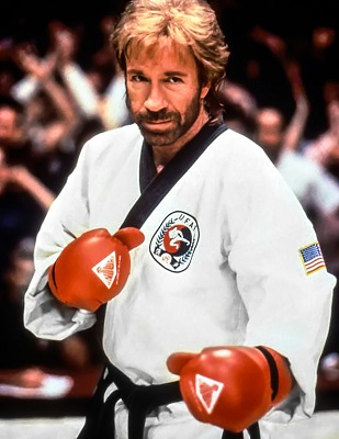 Chuck Norris in Century Martial Arts gloves and UFAF uniform.