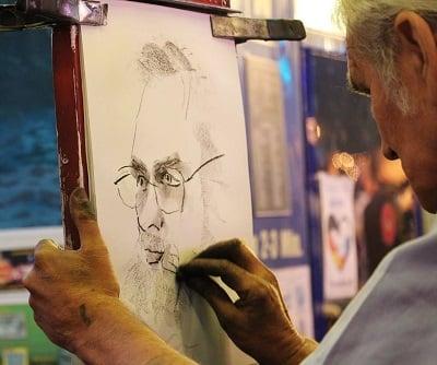 Man sketching.