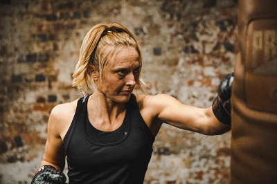 Punching a heavy bag helps tone muscle and burn fat.
