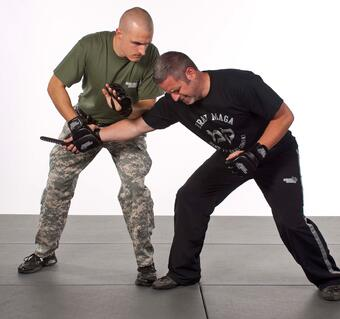 Krav Maga weapons training, training knife, practice knife, self defense