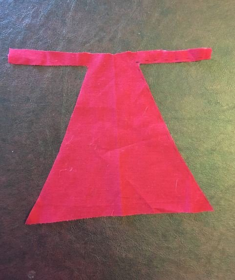 Making a cape for Nigel the Ninja. Step 3