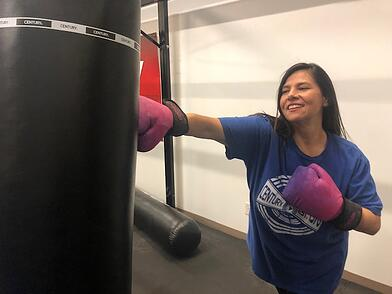 Training with Strive machine washable Gloves from Century Martial Arts.