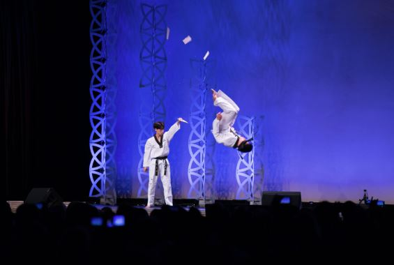 Members of the Mirme Taekwondo team perform at the 2018 Martial Arts SuperShow.
