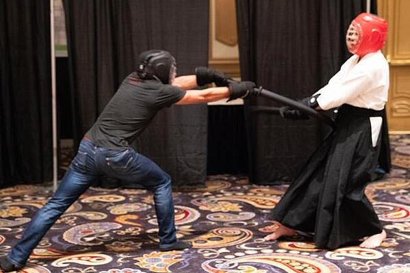 Using ActionFlex swords and sparring headgear, 2018 MASuperShow attendees got the chance to spar with a samurai.