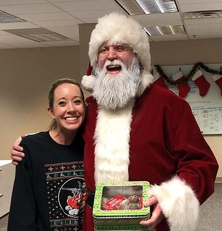 """Bellator pro MMA fighter Justin Wren, """"The Big Pygmy,"""" at Century Martial Arts, dressed as Santa Claus for Christmas."""