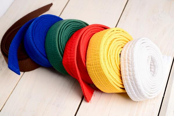 Different colors of martial arts belt represent different levels and stages of training.