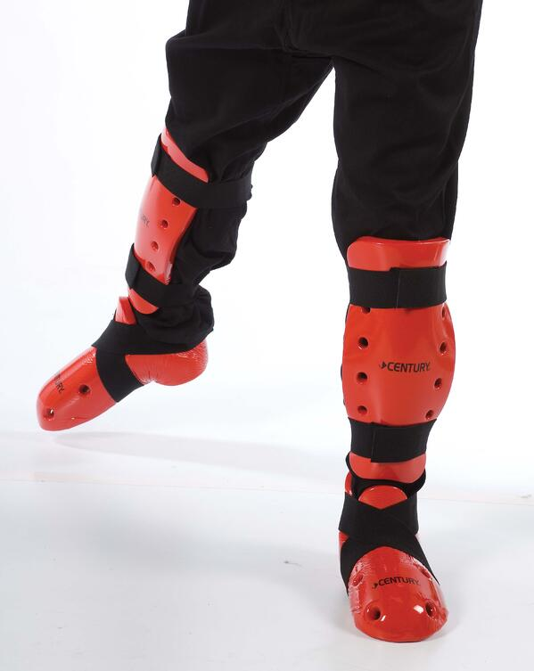 Karate shin guards and boots for sparring.