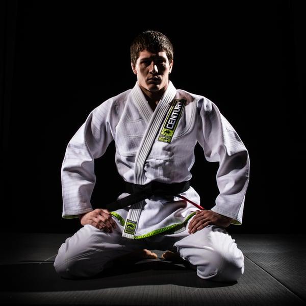 A Brazilian jiu jitsu gi being worn.
