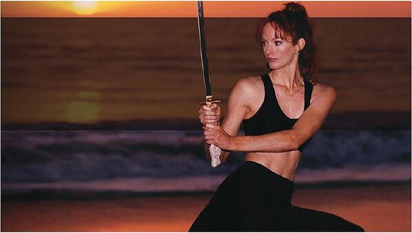 Dana Hee training, with katana sword.