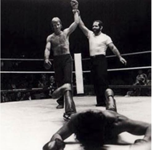 A young Chuck Norris wins a fight.