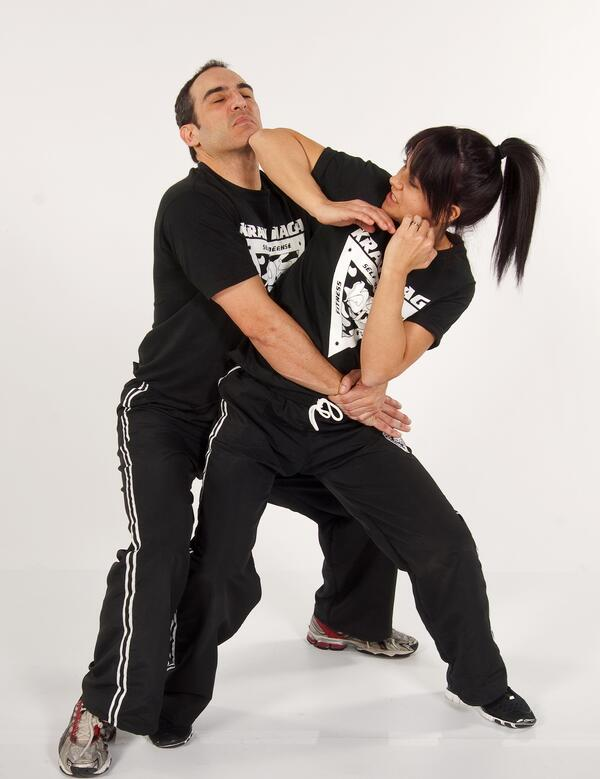 Civilian krav maga is popular for self-defense! I think this is a staged photo, though. I don't think she's actually in any danger.