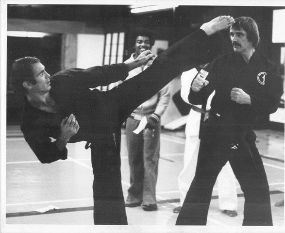 Bill Wallace (left) trains with Sensei Tom Haggerty, circa 1977.