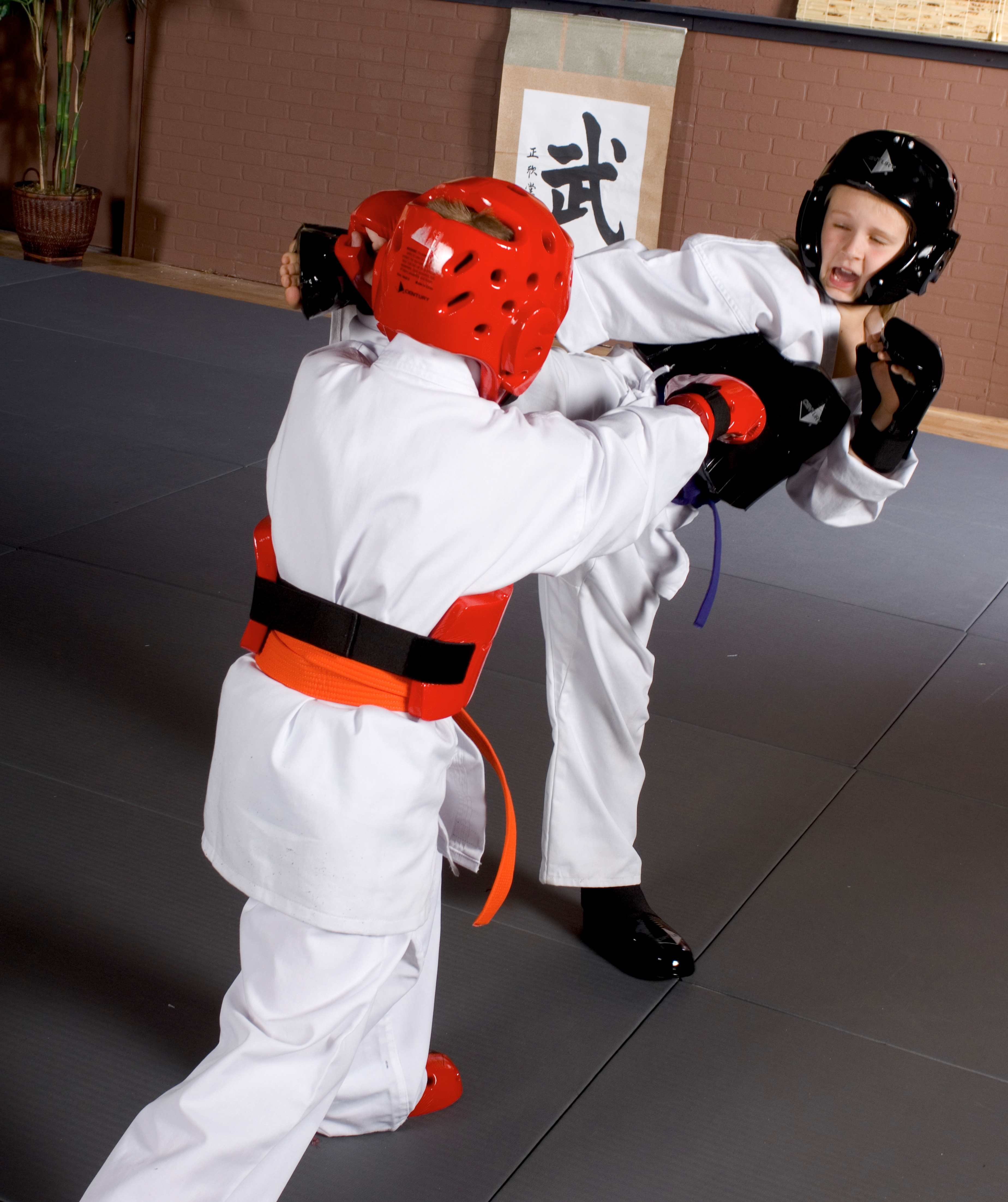 Two kids, an orange belt (foreground) and purple belt (background), practice sparring.