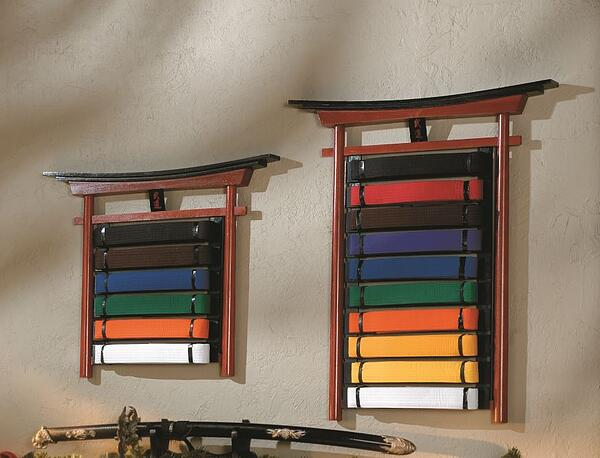 Budo wall displays let you show off retired belts in a distinguished manner.