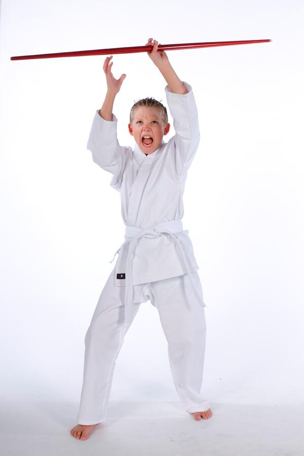 Child with a bo staff. This is a great weapon for all ages to learn!