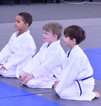 Children attend a karate class.