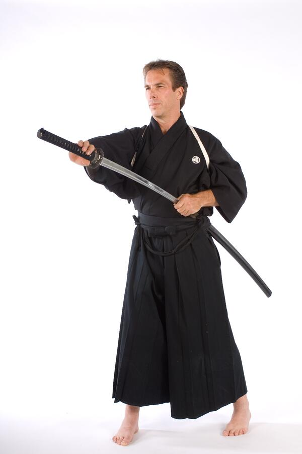 Shihan Dana Abbott demonstrates an iaido draw with a katana.