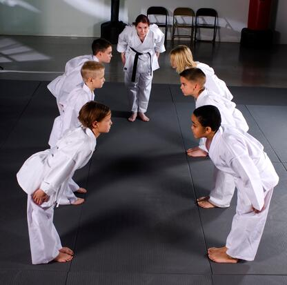 Bowing is a sign of respect in the dojo.
