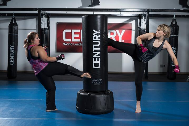 The Wavemaster 2XL Pro can be used by up to two participants, alternating kicks, as seen here.