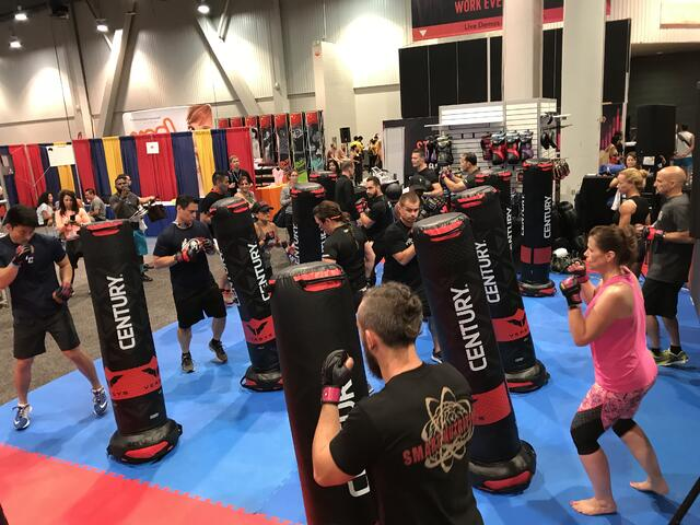Attendees at the Idea World fitness tradeshow flocked to take a class on the Versys VS.1 bags! Despite the small space, there was a large turnout -- but everyone had enough room!