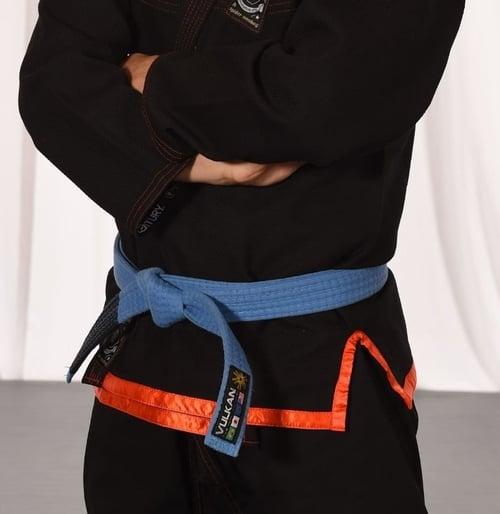 A Brazilian jiu-jitsu blue belt.