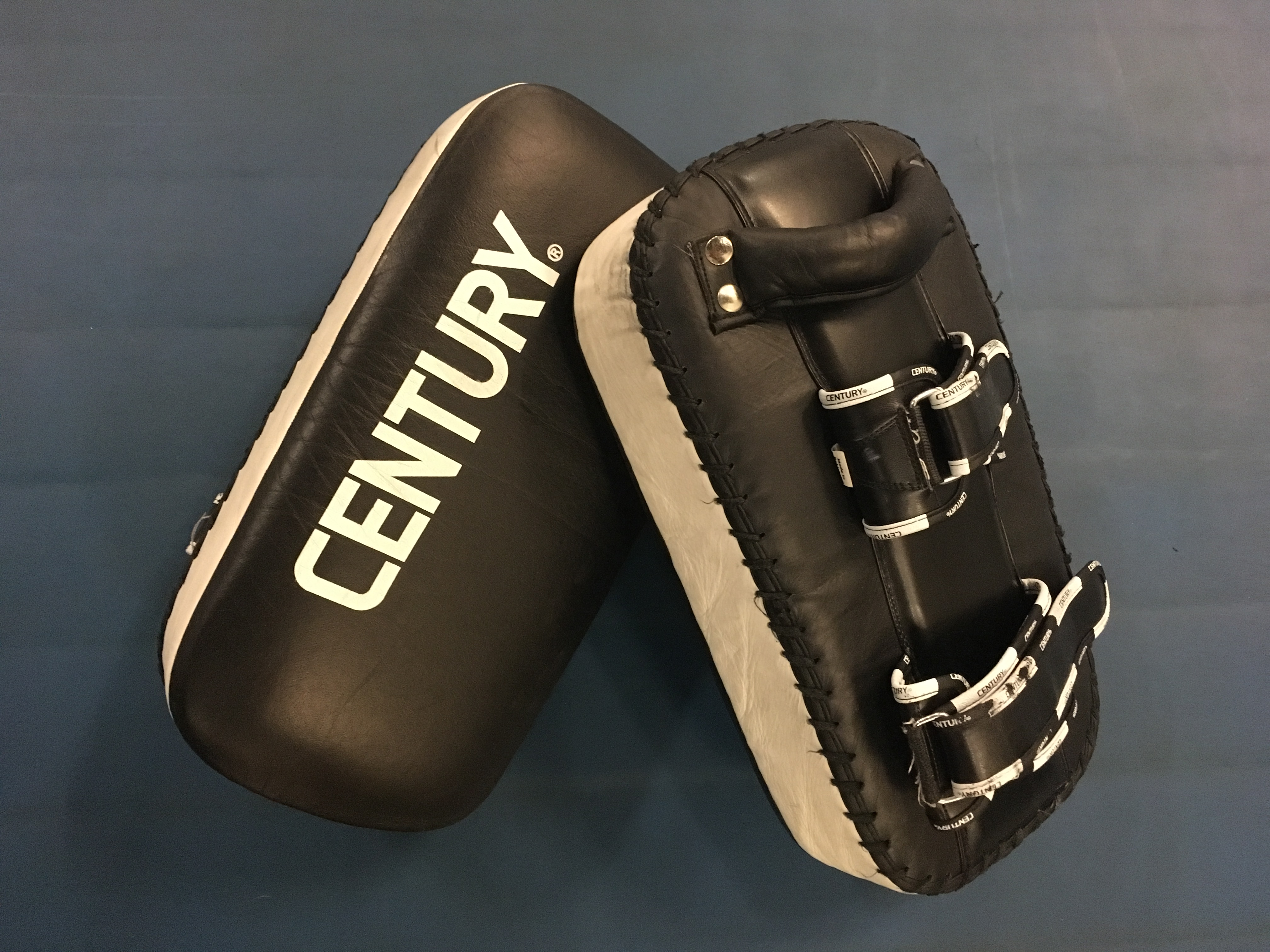 Muay thai pads used for kickboxing.